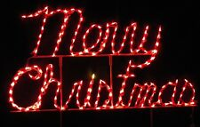 """Merry Christmas"" Cursive Sign Outdoor LED Lighted Decoration Steel Wireframe"