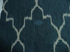 "Navy BLUE Gray  Ikat Fabric 54"" Geomteric Monaco Cobalt Lacefield Design DEFECT"