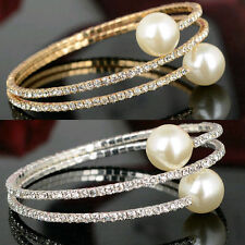 Diamante Rhinestone 3Row Crystal Pearl Spiral Wedding Bridal Bracelet Bangle Hot