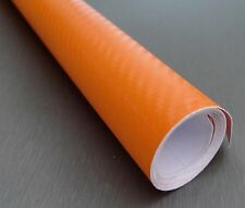3D Carbon Fiber ORANGE Twill-Weave Matte Design Vinyl Film 24 x 600 Inches