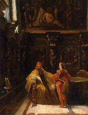 Excellent Oil painting male portraits Pope and his son in sitting room on canvas
