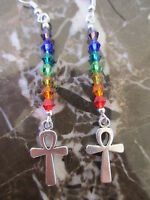 Silver Ankh Cross Healing Chakra Crystals Artisan Earrings-Kemetism Celtic Wicca