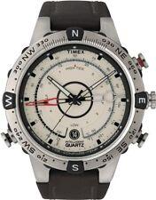 Timex® Mens T2N721 Intelligent Quartz Compass Tide Temperature Silver Case Brown