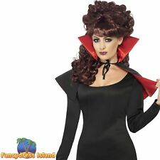 Mini Vamp Cape Red Black High Collar Halloween Womens Fancy Dress Accessory