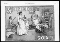 1889 Antique Print ADVERTISMENT - Sunlight Soap Ladies Washing  (300)