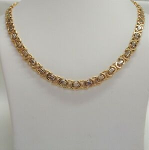 Fine Byzantine Chain Two Colour 18ct Gold - SOLID- Length 18in - 48.6g- QUALITY!