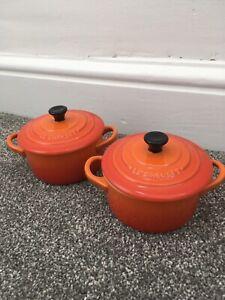 2 Le Creuset Mini Round Cocotte Casserole Dish Pot Volcanic Orange 0.25L 8oz NEW