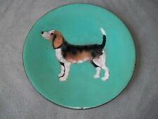 Vintage Retro Enameled Beagle Dog Collector Plate