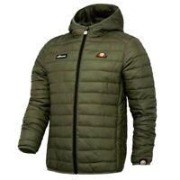 Ellesse Mens Padded Jacket Hooded Lombardy Puffa Dark Green Khaki XS New