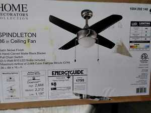 Spindleton 36 in. Indoor Brushed Nickel Ceiling Fan with Light Kit by HDC