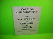 Williams Gulfstream Tropic Fun Original Pinball Machine Parts Catalog Supplement