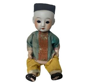 Chinese Asian Doll Composition Mache Body Glass Eyes Open Close Sleepy Bisque