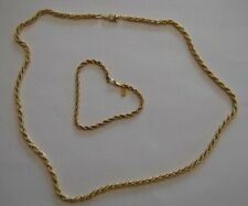 """18K Gold Plated Rope 22"""" Chain and 7"""" Bracelet"""