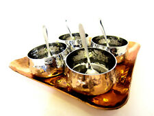 9 Pcs Mini Indian Stainless Steel Bowls/Spoons with Copper Serving Relish Tray