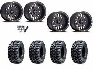 "Method 406 Beadlock 14"" Wheels Rims Black 32"" Kanati Mongrel Tires Turbo 1000"