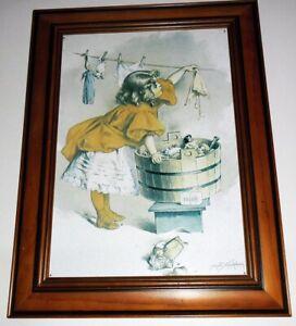 Wood framed tin art Maud Humphrey soap print
