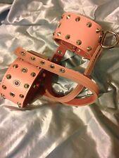 Handmade leather Pink Studded Shoe cuffs, Any colour Bondage  fetish