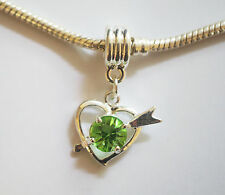 "1 Silver Plated "" Heart""  Dangle  Charm - Fit Charm Bracelet - Green Rhinestone"