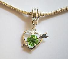 "1 Silver Plated "" Heart""  Dangle  Charm - Fit Charm Bracelet - Green Rhinestone"