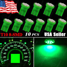10X Green Wedge T10 W5W 158 192 168 8-SMD LED Bulbs Speedometer Instrument Light