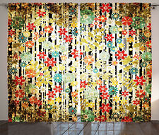 Floral Curtains Ivy Leaves and Scenery Window Drapes 2 Panel Set 108x84 Inches