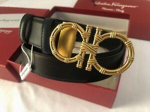 Authentic Salvatore Ferragamo BIG Gold Buckle NEW Blue/Black Belt  100/40