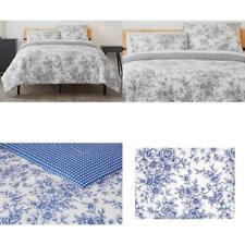 Livia 3-Piece Reversible Charcoal Toile Full/Queen Comforter Set