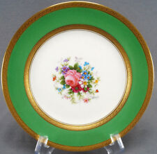 Set of 4 Ahrenfeldt Limoges Signed Mireille Floral Green & Gold Encrusted Plates