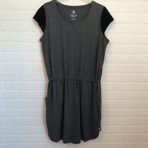 fullbeauty Sport Women's Dress Sz 14/16 Mesh Cap Slv Plus Blouson pockets Gray