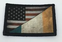 USA IRELAND Flag Morale Patch Military Tactical Army Badge Hook Tab IRISH