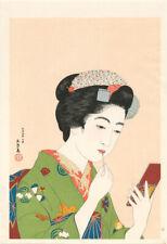 Japanese woodblock print Goyo Beauty Applying Lipstick