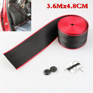 3.6M Car Black/Red Seat Belt Polyester Webbing Retractable Auto Safety Strap Lap