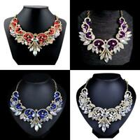 Fashion Rhinestone Crystal Chunky Statement Bib Pendant Chain Choker Necklace LJ