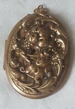 """Art Nouveau Gold Plate Large Relief Floral Bouquet Picture Locket Pendant 2.5"""""""
