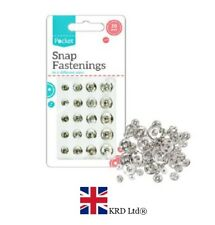 20 Pcs PRESS STUDS SNAP FASTENERS Sewing Dressmaking Fastenings Assorted Pack UK