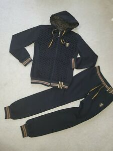 Fashion Women`s 2 Pc Truck Suit Zip-Up Hooded Jacket & Pull-On Pants Black  Sz.S