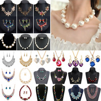 Fashion Elegant Women Bib Crystal Pendant Statement Chain Chunky Choker Necklace