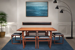 Very rare Danish Midcentury teak lounge dining table and chairs by Erik Buch