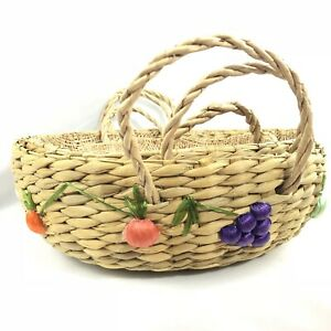 Vtg Woven Rattan Double Handle Basket Set of 3 Fruits Vegetables Boho Kitsch