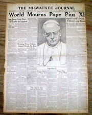 <1939 display newspaper DEATH of Catholic POPE PIUS XI w engraving VATICAN Rome