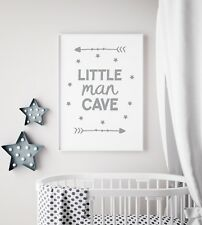 Little Man Cave Arrow Grey Nursery Print Kids Bed Room Boys Wall Art Picture A4 (21x29.7cm)