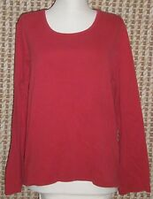 Women's St John's Bay Red Cotton Long Sleeve Classic Tee Size XL B:48 W:46 L:23