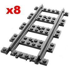 LEGO Train Track 8 NEW Pieces Of Straight Rail For 7938 7939 60051 60052 60098