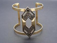$40 Sole Society Deco Statement Cuff Bracelet Goldtone w/Marcasite Rhinestones