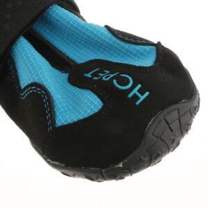 4-Pack Large Dog Boots Rain Shoes Snow Bootie Reflective Rubber Sole Blue L