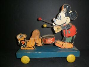 Antique Fisher Price Mickey Mouse Band #530 Push Pull Toy, Walt Disney Ent.