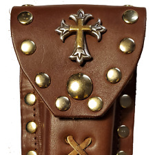 Buck 110 Leather Knife Case - Gold and Silver Cross (Light Brown)
