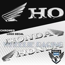 "2X 6.25"" EXTRA 3D SHINY ABS EMBLEM DECAL WING LOGO+LETTER STICKER HONDA CHROME"