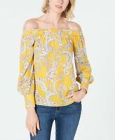 INC International Concepts Blouse Top Off Shoulder Yellow Sz S Women NEW NWT 229