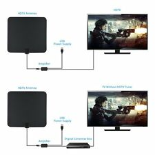 Black 1080P Digtial HDTV Antenna Indoor Flat TV Antenna - 50 Miles Range